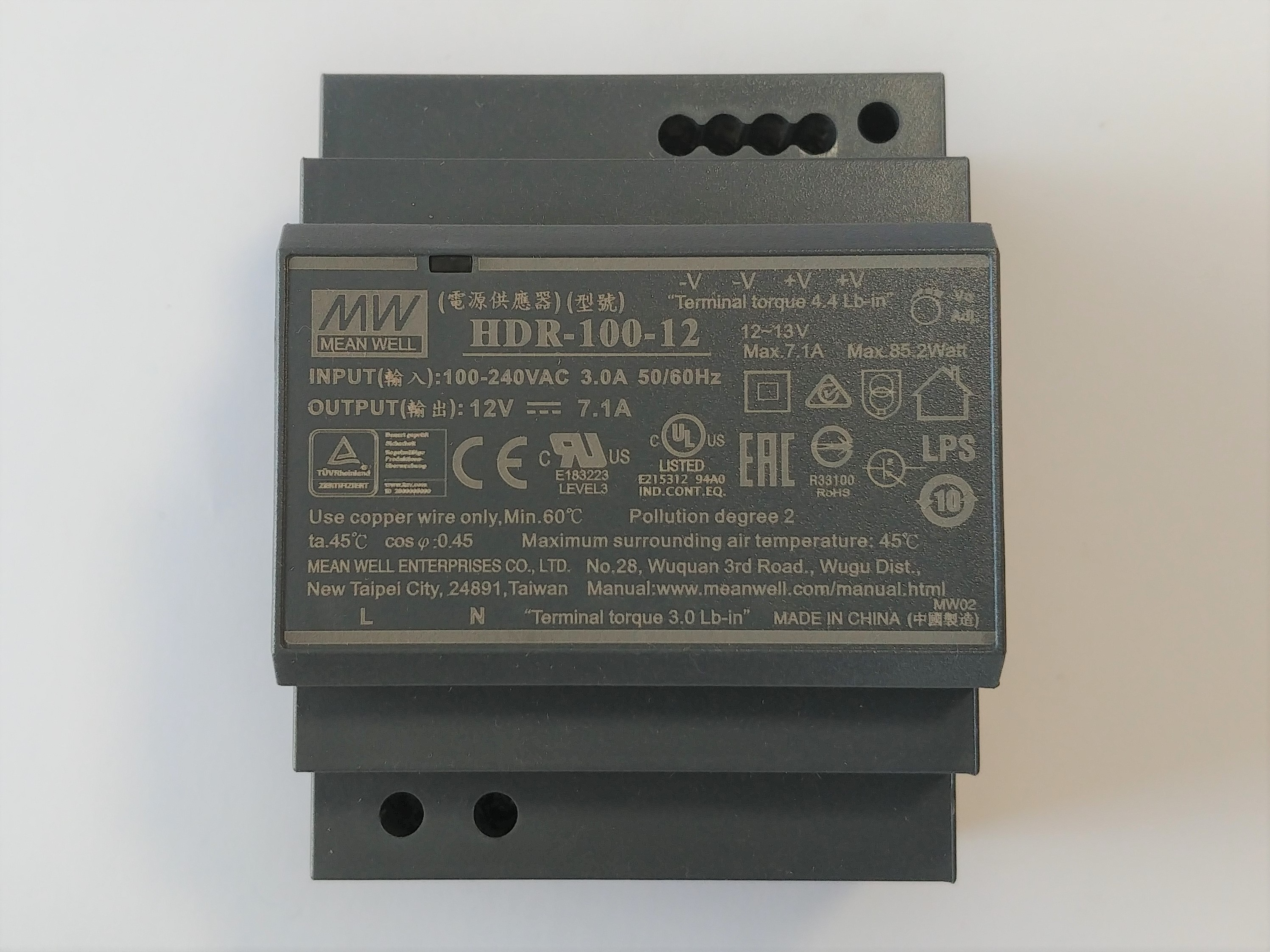 Mean Well HDR-100-12 DIN Rail Power Supply - 12V - 7.1A